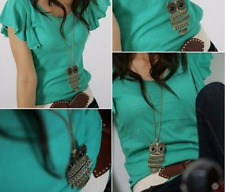 Retro Cute Animal Alloy Owl Pendant Long Necklace Sweater Chain
