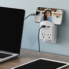 Aduro Surge 2 USB 2 Outlet Charging Station Wall Charger Phone Holder Plug Strip