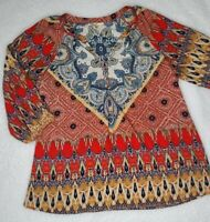 Anthropologie Fig and Flower Sz M Tunic Top Paisley Half Sleeve Boho Red Blue