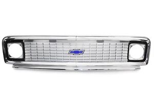 71-72 Chevy C10 Truck Polished Aluminum Outer & Inner Grille Shell w/Blue Bowtie