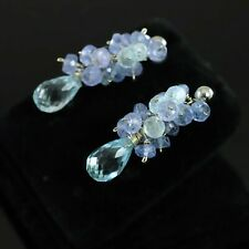 14kt White Gold Faceted Blue Topaz Drop & Tanzanite Cluster Dangle Earrings