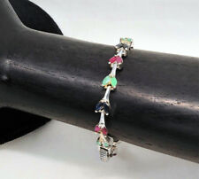 Sterling Silver Ruby, Emerald and Saphire Bracelet