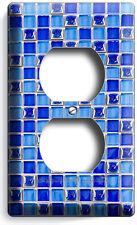 BLUE MOSAIC ARABIC TILES DUPLEX OUTLET WALL PLATE COVER HOUSE HOME KITCHEN DECOR