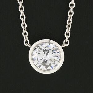 NEW 14K Gold 0.51ctw GIA Round Bezel Diamond Solitaire Pendant Adjustable Chain