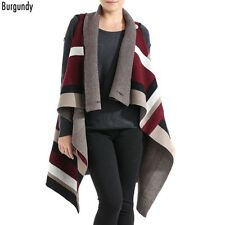 Burgundy and Multi Colored Button Front Poncho Vest