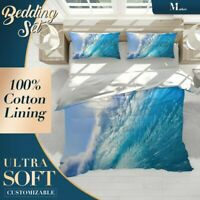 Huge Surfing Beach Wave Sea Blue Doona Cover Set Single Double Queen King Size