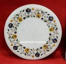 """12"""" Inch Round White Marble Table Top With Marquetry Inlay Work"""
