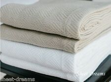 Peacock Alley 100% Egyptian Cotton Herringbone Lattice Blanket White  King Size