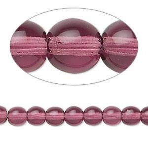Czech Druk 6mm Purple Amethyst 50 Beads