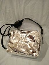 BE & D SILVER CROSS BODY PURSE EVENING SHOULDER STRAPS SNAKE-PRINT HAND BAG