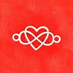 10 x Tibetan Silver Infinity Heart Love Forever Connectors Charms For Bracelets