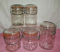 5 Squatty & Wire Bail BALL ACME Canning Jars 1/2 Pints Glass Lids Antique VTG