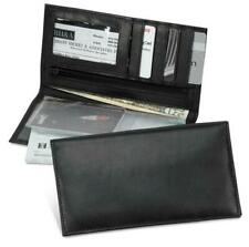 Black Leather Checkbook Wallet Men Women