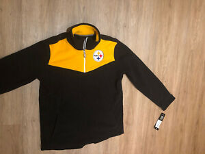 New NWT Pittsburgh Steelers Boys 1/4 Zip Fleece Pullover Size M (10-12) MSRP $50