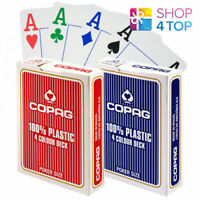 2 DECKS OF COPAG 4 COLOUR 100% PLASTIC JUMBO INDEX POKER CARDS 1 RED 1 BLUE NEW