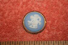 Vintage Marked Blue Jasperware Wedgwood England Gold Fill Brooch Pendant