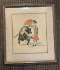 Felix Victor Watercolored Print Signed Torero Bullfighter  Antique 16.5 @15