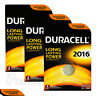 3 x Duracell Lithium Coin Cell batteries CR2016 DL2016 BR2016 3V