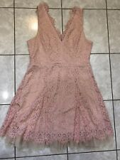 Lace Flare Dress Short Party Dress Front / Back V Neck Blush Size XL ***NWT***