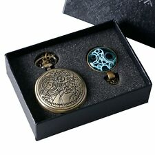Vintage Mens Doctor Who Gallifrey Tardis Necklace Pocket Watch Chain+Gift Box