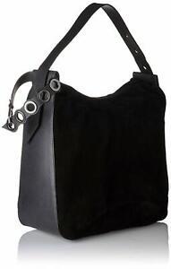 Kendall + Kylie Molly Leather Shoulder Hobo Bag Top Handle Black - NEW