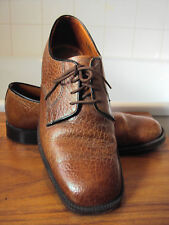 Vintage Wearra  6925 Gross-Grain Brown All Leather Shoes- size 6 ~Town & Country