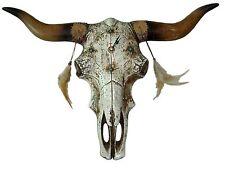 Western Wanduhr Indian Skull Indianer Stier Schädel Horn Federn Deko Uhr
