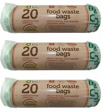 60 x Kitchen Caddy  BIODEGRADABLE FOOD WASTE BAGS Rubbish Compost Bin Recycle