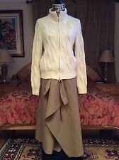 $2K+ GORGEOUS SUMPTUOUS WARM Loro Piana cable BABY cashmere off white cardigan