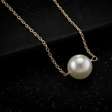 Elegant 18k 18CT Yellow Gold Plated GP Pearl Pendant Chain Necklace N552