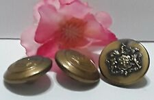 Vintage Crown Military Button Flat Lion Shield lot of 3