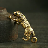 Antique Brass Tiger Pendant Statue Old Chinese Zodiac Lucky Pocket Gift Ornament