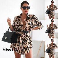Long Blouse Tops Ladies Summer Party Loose T Shirt Dress Womens Leopard Print