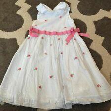 Janie & Jack Girls 4T White black Dot Rose Dress