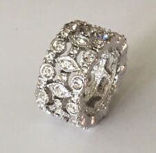 14ct White Gold Cocktail Dress Pave Set Ring Simulated Diamond Size 6, 7, 8, 9.