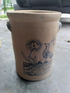 Antique 1 gallon Cobalt Decorated Stoneware Crock   Bird