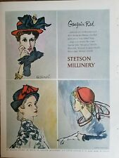 1948 Women's Stetson Millinery Hat Gauguin Red Rene Bouche art ad