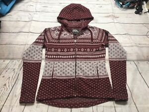 Roots CANADA Hoodie Pullover Sweatshirt Size Large Red Snowflake Christmas