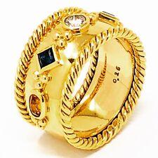 14k Gold Diamond, Ruby, Sapphire and Citrine Cigar Band