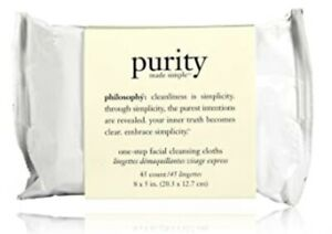 NEW PHILOSOPHY PURITY MADE SIMPLE ONE-STEP FACIAL CLEANSING CLOTHS 45 WIPES