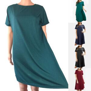 Femmes Robe Midi M ~2XL Souple Solide Couleur T-Shirt Coton Blend Grande Taille