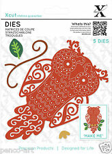 Xcut 5 pc cutting die set FILIGREE OWL + flourish, leaf & magnetic sheet
