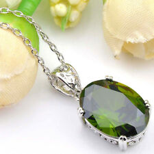 Delicate high Quality Genuine Olive Peridot Platinum Plated Necklaces Pendants