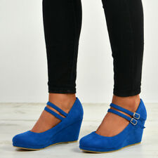 Womens Ladies High Wedge Heel Pumps Platform Double Strap Shoes Size Uk 3-8
