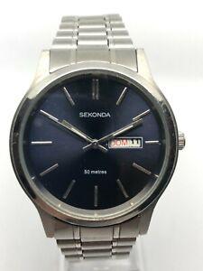 Sekonda Gents Elegant Watch 1073CKX Blue Dial Stainless Steel Strap