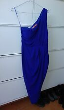 BNWT Rodeo Show Silk One Shoulder Royal Blue Dress 8 6 'Astrid Drape'