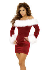 Ladies Sexy Thick Fur and Velour Mrs Christmas Santa Costume Dress Size 12-14