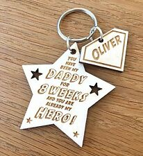 Personalised 1st Fathers Day Wooden Keyring Daddy Dad Grandad Papa Keyring Gift