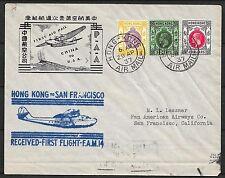 Hong Kong covers 1937 1st Flight cover to San Francisco