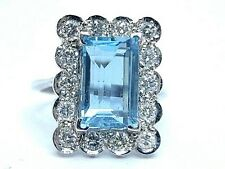 NATURAL AQUAMARINE 3.90 KT.  & Diamonds 0.58 KT. 18Carat White Gold Ring Size N
